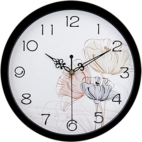 HITO Silent Floral Wall Clock Non Ticking 10 inch Excellent Accurate Sweep Movement Glass Cover, Decorative for Kitchen, Living Room, Bathroom, Bedroom, Office fl4 Black