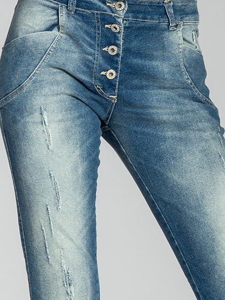 CASPAR JNS016 Damen Vintage Stonewashed Baumwoll Jeans NEU