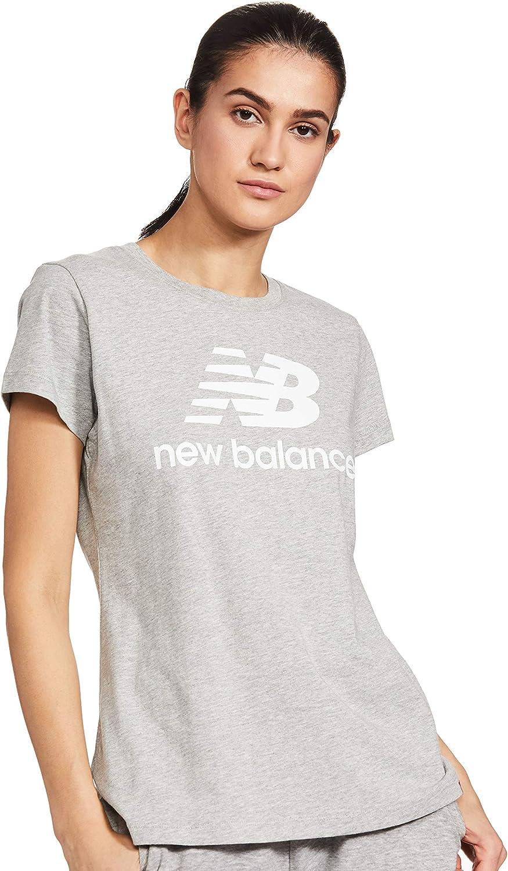 New Balance Womens Essentials Stacked Logo Short Sleeve Shirt