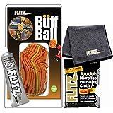"Flitz 5"" Orange Buff Ball WITH 1.79 oz Flitz BP 03511 Metal, Plastic and Fiberglass Polish AND 2-pack Microfiber Cloth"