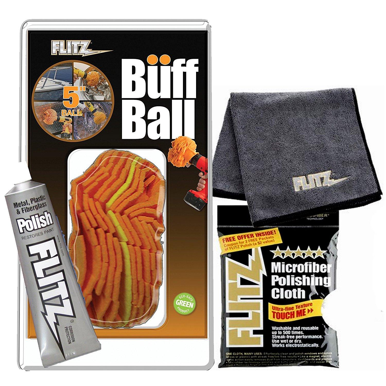 Flitz 5'' Orange Buff Ball WITH 1.79 oz Flitz BP 03511 Metal, Plastic and Fiberglass Polish AND 2-pack Microfiber Cloth