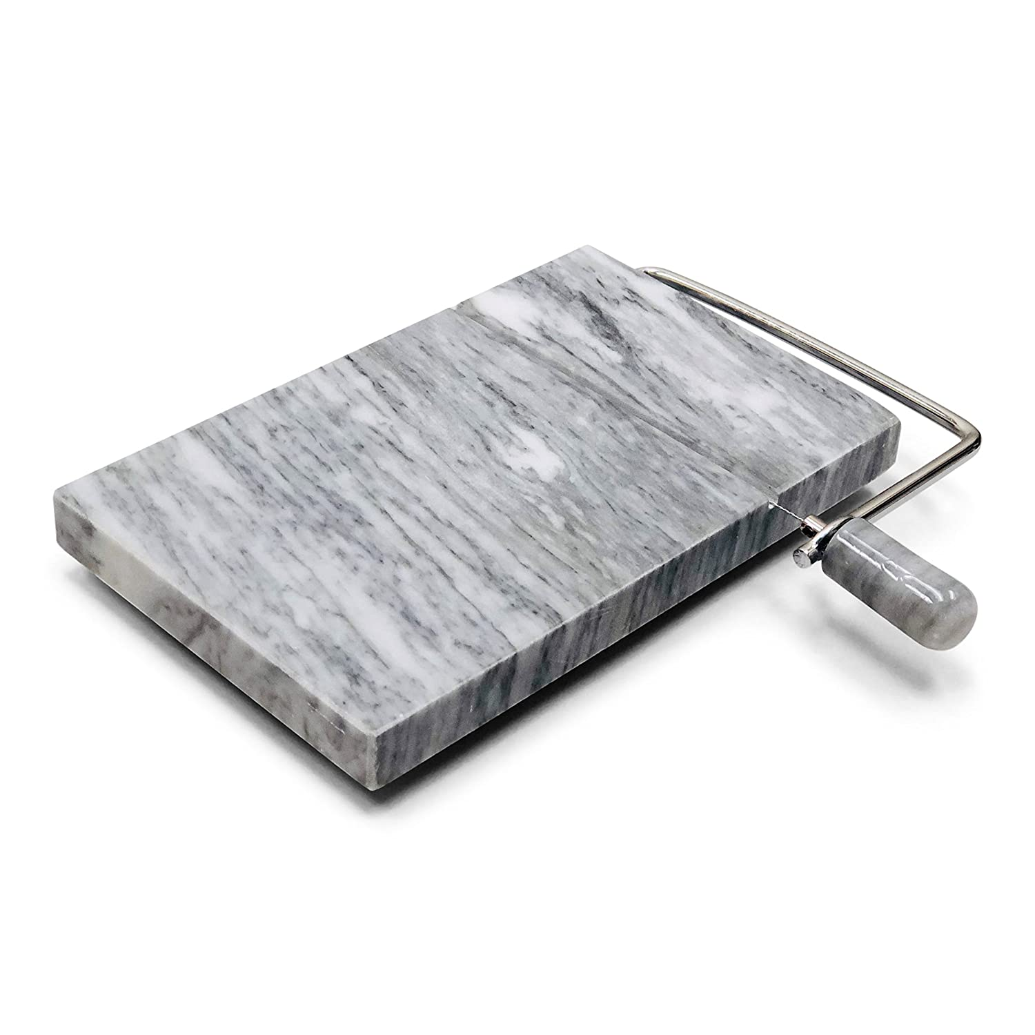 Amazon.com: TrueCraftware White Marble Cheese Board Slicer with 2 ...