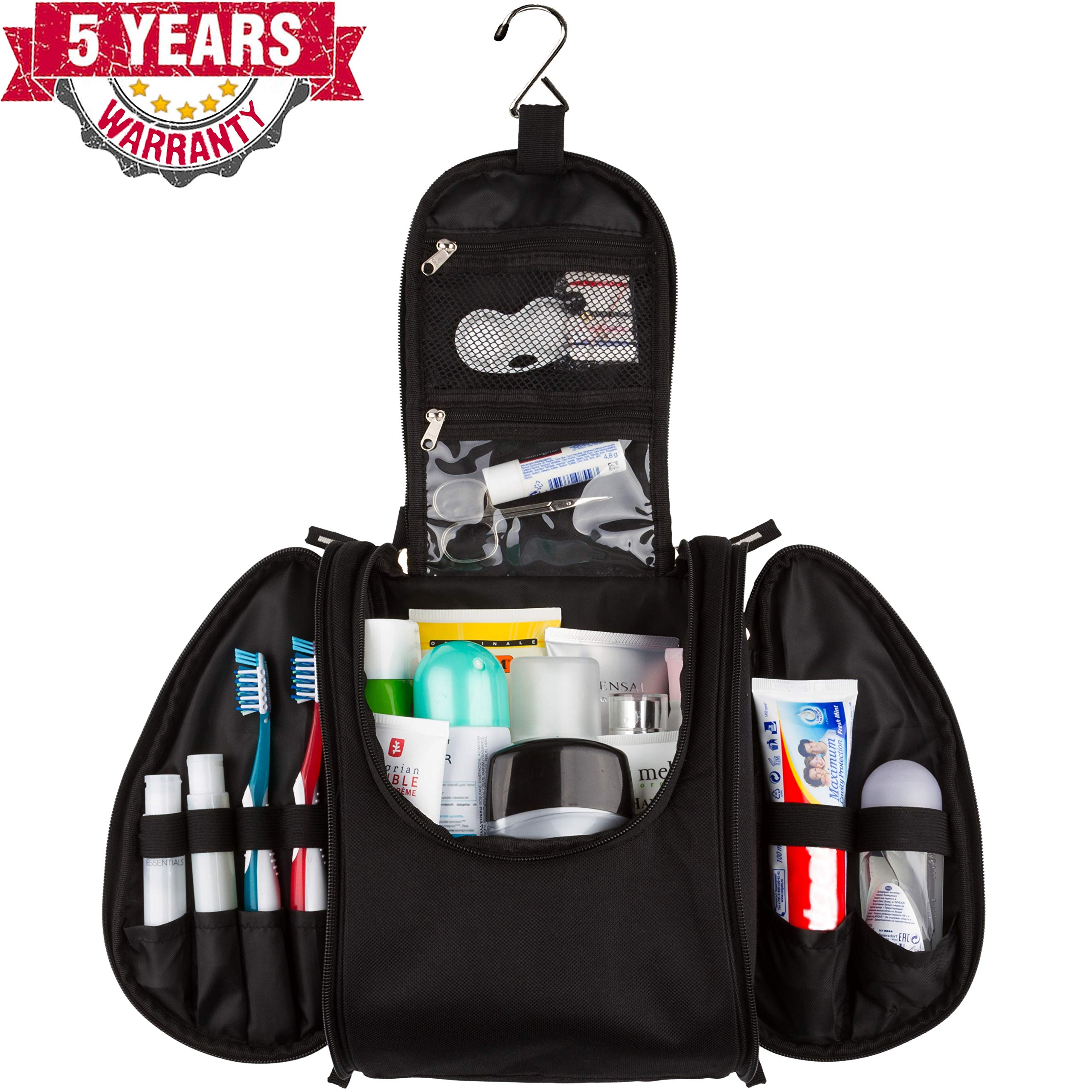 42 Travel Hanging Toiletry Bag - Large Kit Organizer for Men & Women - Spacious & Compact, 17 Compartments for all you need - Strong Zippers, Sturdy Hook, Water Resistant by 42Travel
