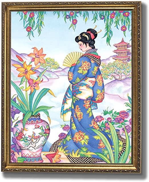 Japanese Girl In Garden Asian Wall Picture Art Print