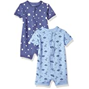 Hanes Ultimate Baby Zippin 2 Pack Rompers, Sky 0-6 Months