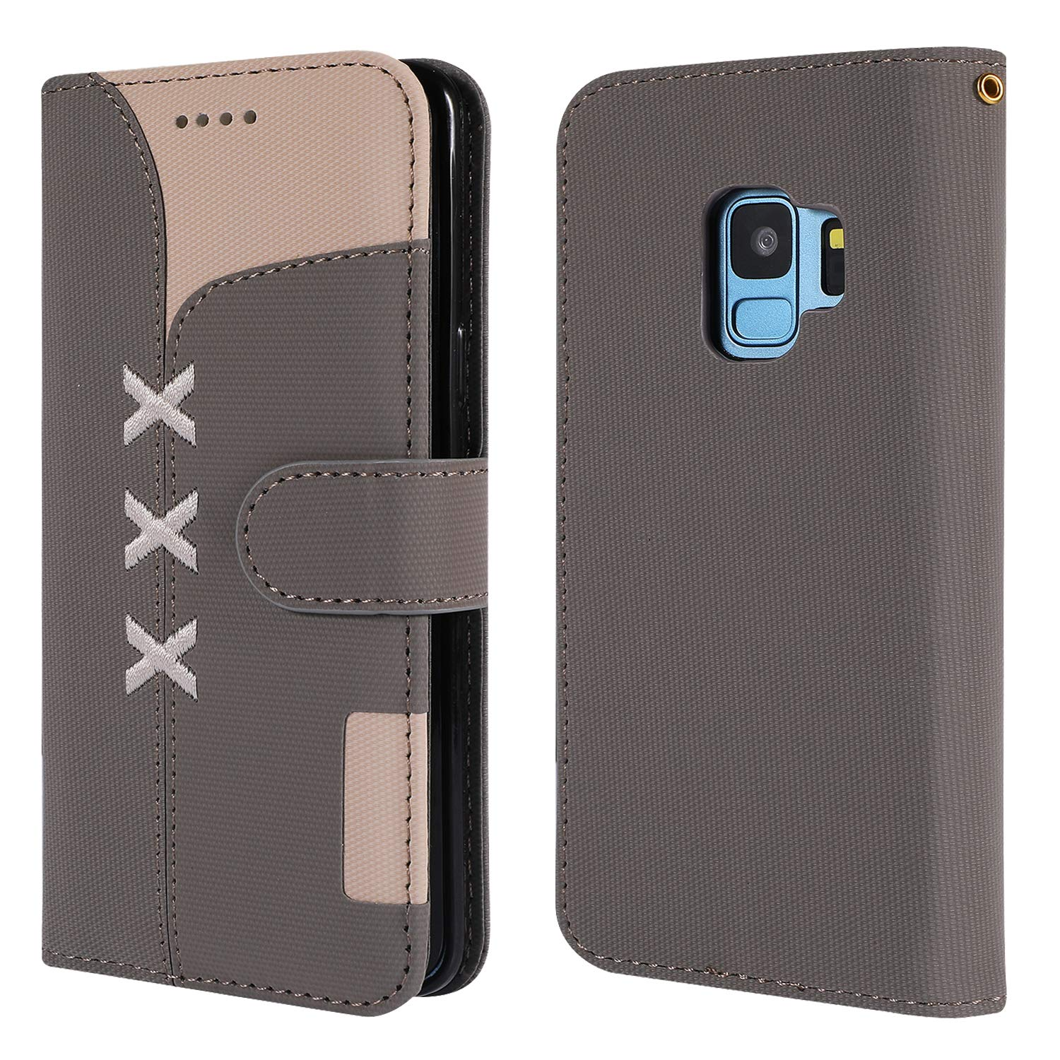 LOGHU040227 Azure G960 Case Samsung Galaxy S9 Lomogo Leather Wallet Case with Kickstand Card Holder Shockproof Flip Case Cover for Samsung Galaxy S9
