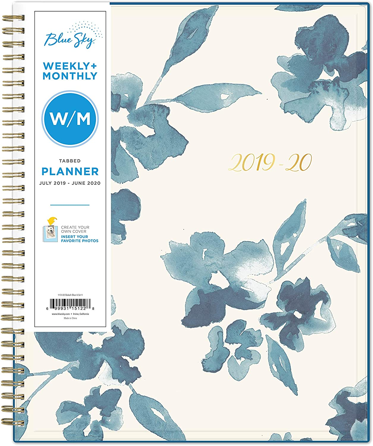 """Blue Sky 2019-2020 Academic Year Weekly & Monthly Planner, Flexible Cover, Twin-Wire Binding, 8.5"""" x 11"""", Bakah Blue"""