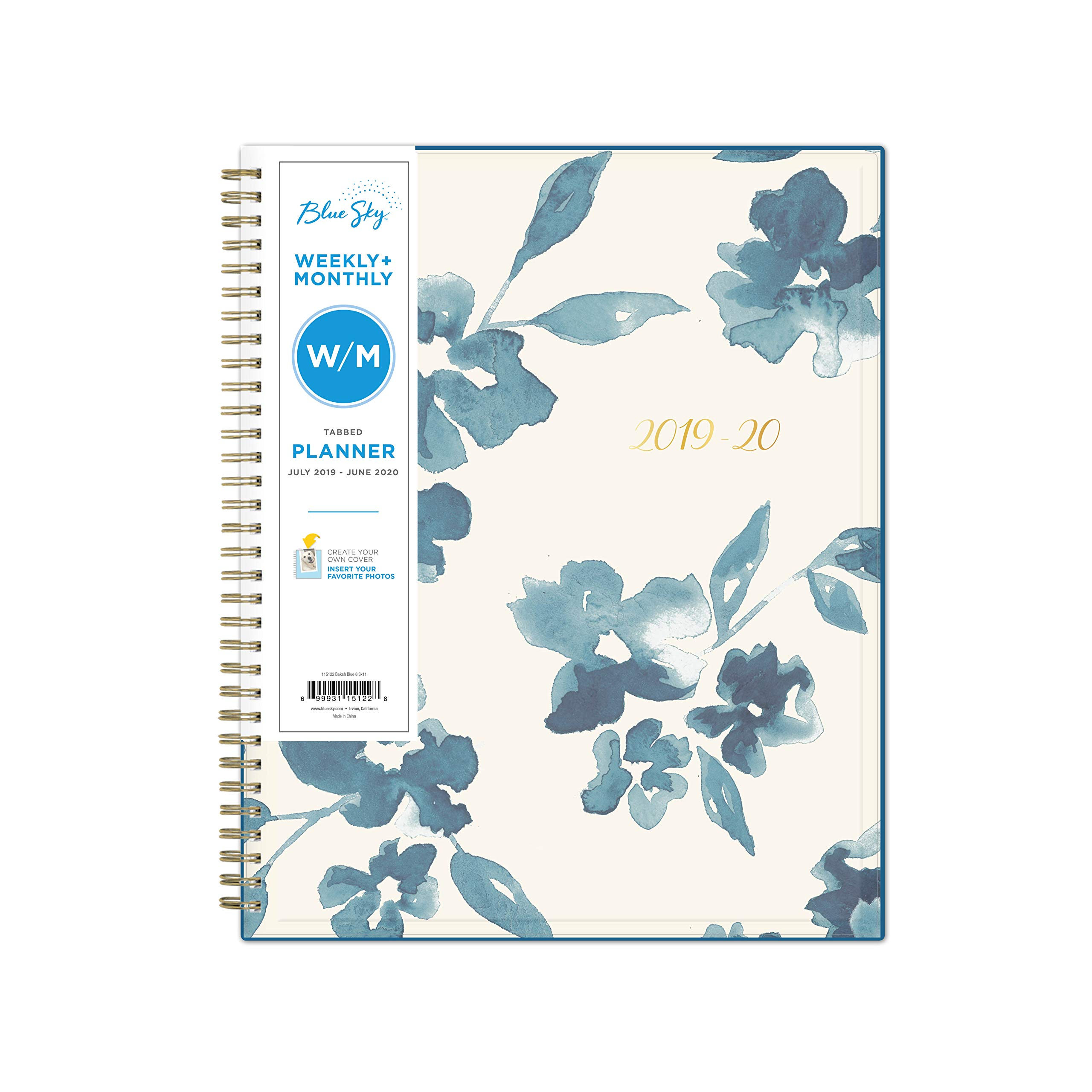Blue Sky 2019-2020 Academic Year Weekly & Monthly Planner, Flexible Cover, Twin-Wire Binding, 8.5'' x 11'', Bakah Blue