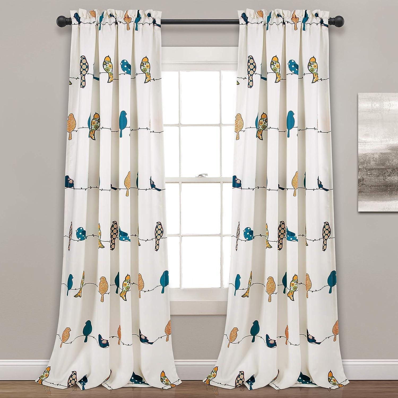 "Lush Decor Rowley Birds Curtains Room Darkening Window Panel Set for Living, Dining, Bedroom (Pair), 95"" x 52"", Multicolored, L, Multi"