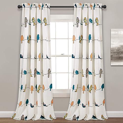Lush Decor Rowley Birds Curtains Room Darkening Window Panel Set