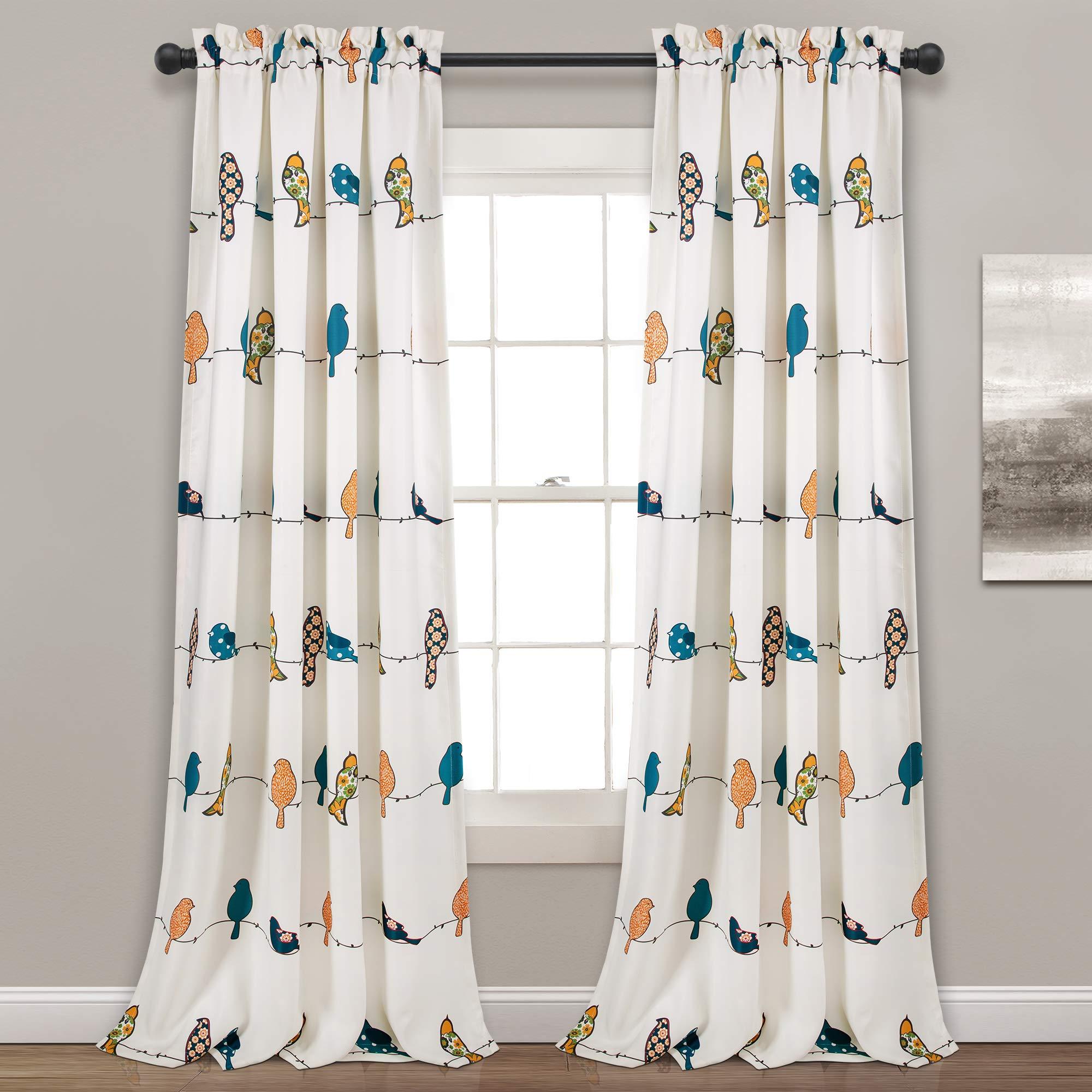 Lush Decor Rowley Birds Curtains Room Darkening Window Panel Set for Living, Dining, Bedroom (Pair), 95'' x 52'', Multicolored, L, Multi by Lush Decor