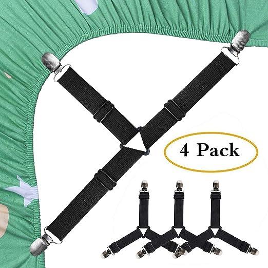 2//4pcs Fitted Bed Sheet Holder Grip Mattress Gripper Clip Fastener Elastic Strap
