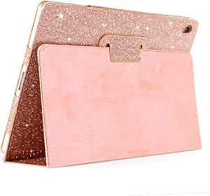 FANSONG iPad Air 3 2019 Case/iPad Pro 10.5-inch Case, Glitter Sparkle Leather Folio Stand Smart Cover [Auto Wake/Sleep] Case for iPad Air 3rd Generation 2019, Rose Gold