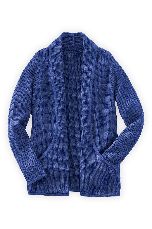 Fair Indigo Fair Trade Cotton/Alpaca Waffle Knit Cardigan (L, Ultramarine)