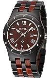 Bewell ZS-W109A Mens Wooden Watch Quartz Movement Lightweight Luminous Date Vintage Analog Wristwatch