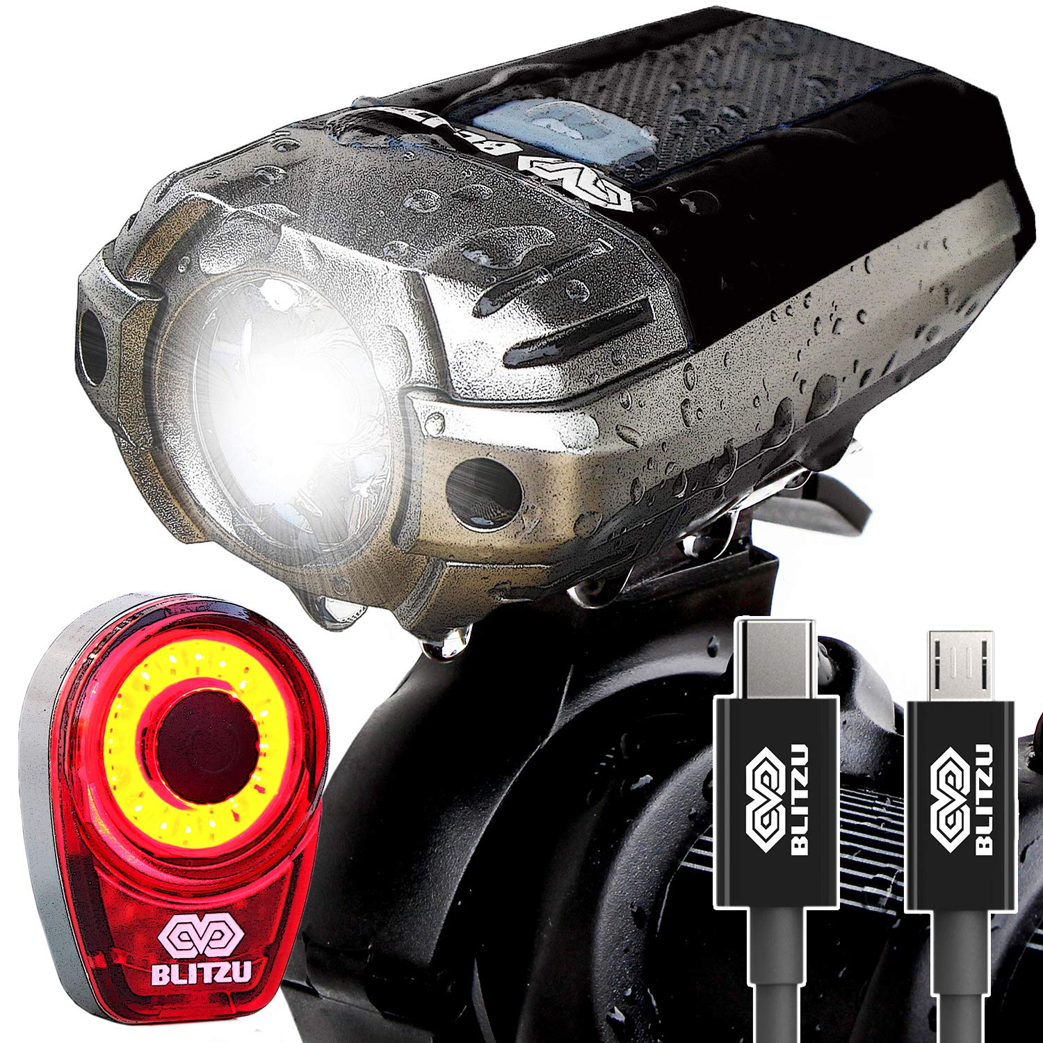 BLITZU Gator 390 USB Rechargeable LED Bike Light Set, Bicycle Headlight Front & Free Rear Back Tail Light. Waterproof, Easy to Install for Kids Men Women Road Cycling Safety Commuter Flashlight Black by BLITZU