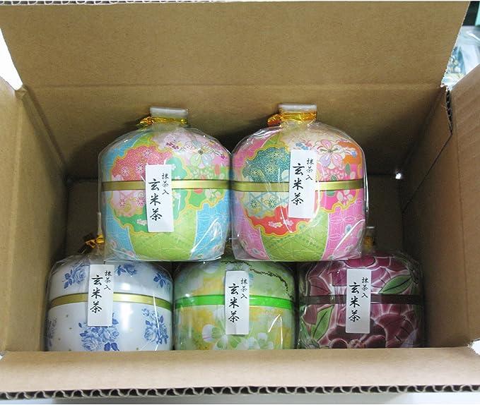 葉桐 鈴子缶 抹茶入り玄米茶5個セット 50g×5個