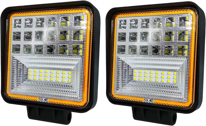 Dl Forever 2 X 126w Led Arbeitsscheinwerfer Doppelte Farbe Flutlicht Reflektor Work Light Bar Scheinwerfer Arbeitslicht Offroad Arbeitslampe Für Traktor Led Fahrscheinwerfer Zusatzscheinwerfer Auto