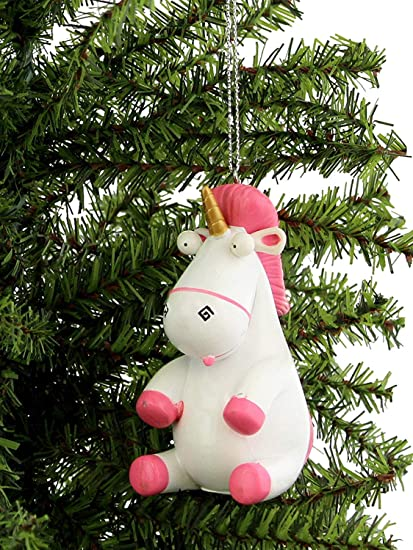 Despicable Me Fluffy Unicorn Kurt Adler Christmas Holiday Ornament Gift Boxed One Size White Pink