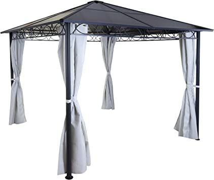 Carpa pérgola toldo HWC-C77 3 x 3 m techo rígido con cortinas ...