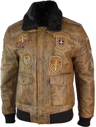 Infinity Chaqueta Aviador para Hombre Tipo Bomber Vintage Cuello ...