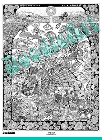 Buy The Original Doodle Art The Sea Adult Coloring Poster Online at ...
