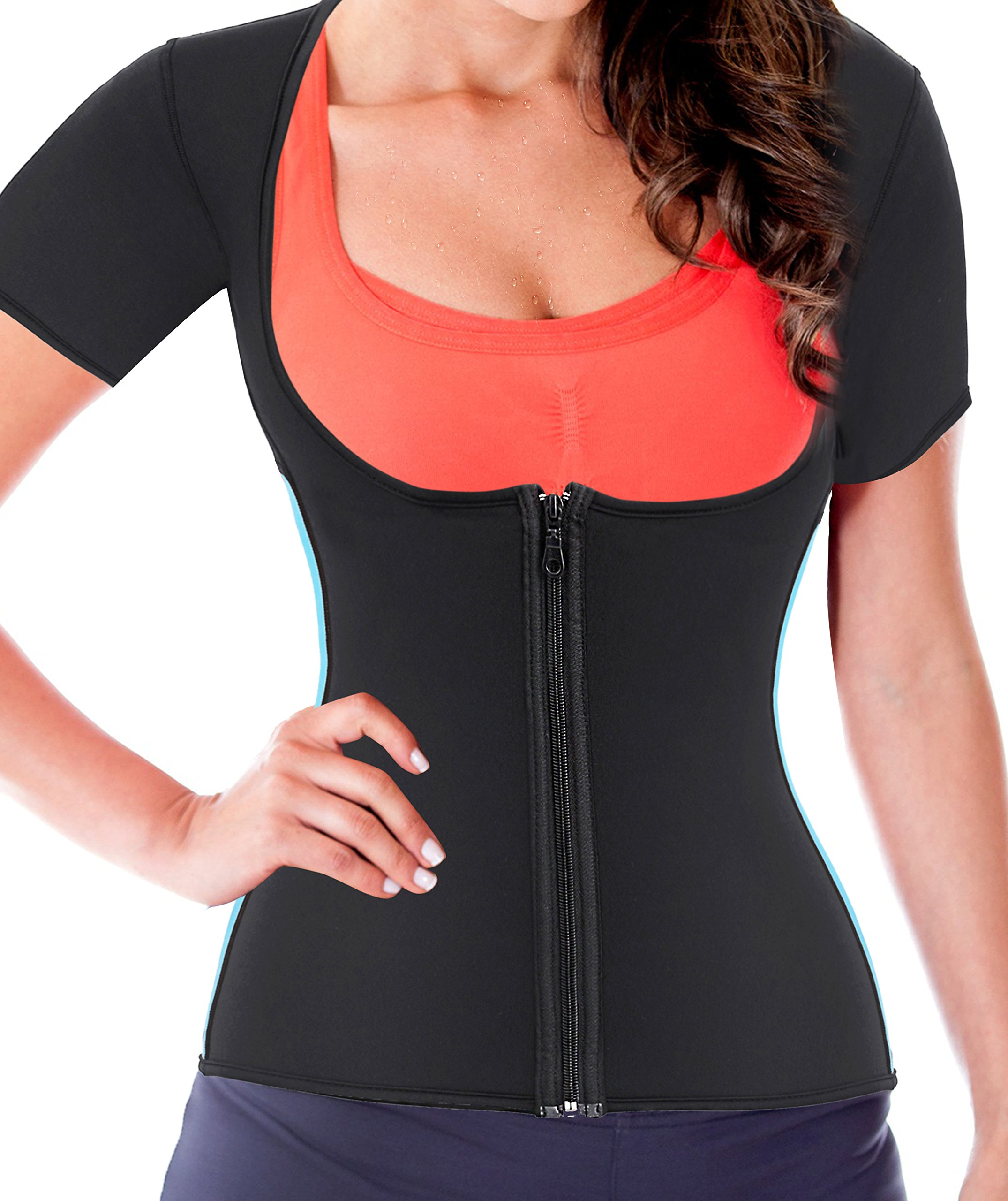 Gotoly Women Neoprene Zipper Front Hot Sweat Slimming Shirt Vest Body Shapers(M Fit 27.5-30.7 inch Waistline, Black) by Gotoly (Image #3)