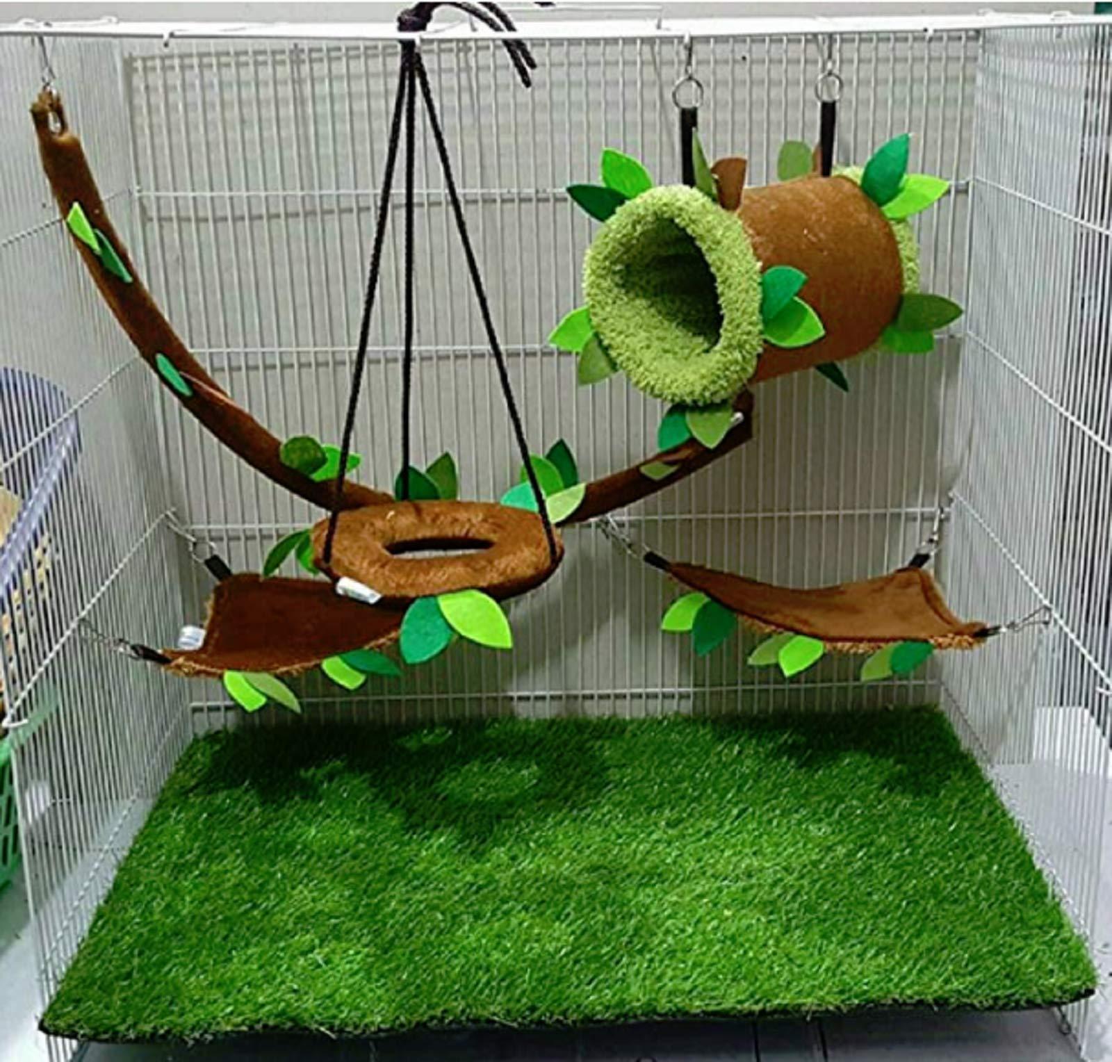 Hot Sale! 5 piece KPS Cute Sugar Glider Hamster Squirrel Small Pet Cage Set Forest Pattern Light Brown, Polar Bear's Republic