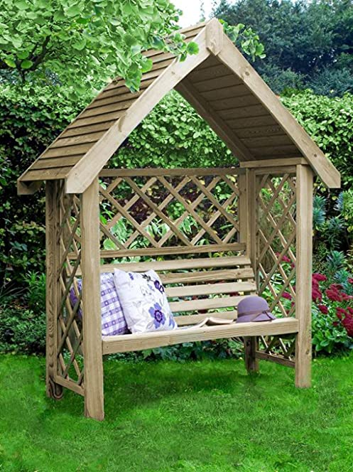 LIVEOUTSIDE Wooden Pergola QuotOxfordquot With Two Seat Bench