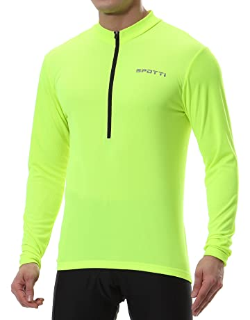 816eb0ed236 Spotti Men s Cycling Bike Jersey Long Sleeve with 3 Rear Pockets - Moisture  Wicking