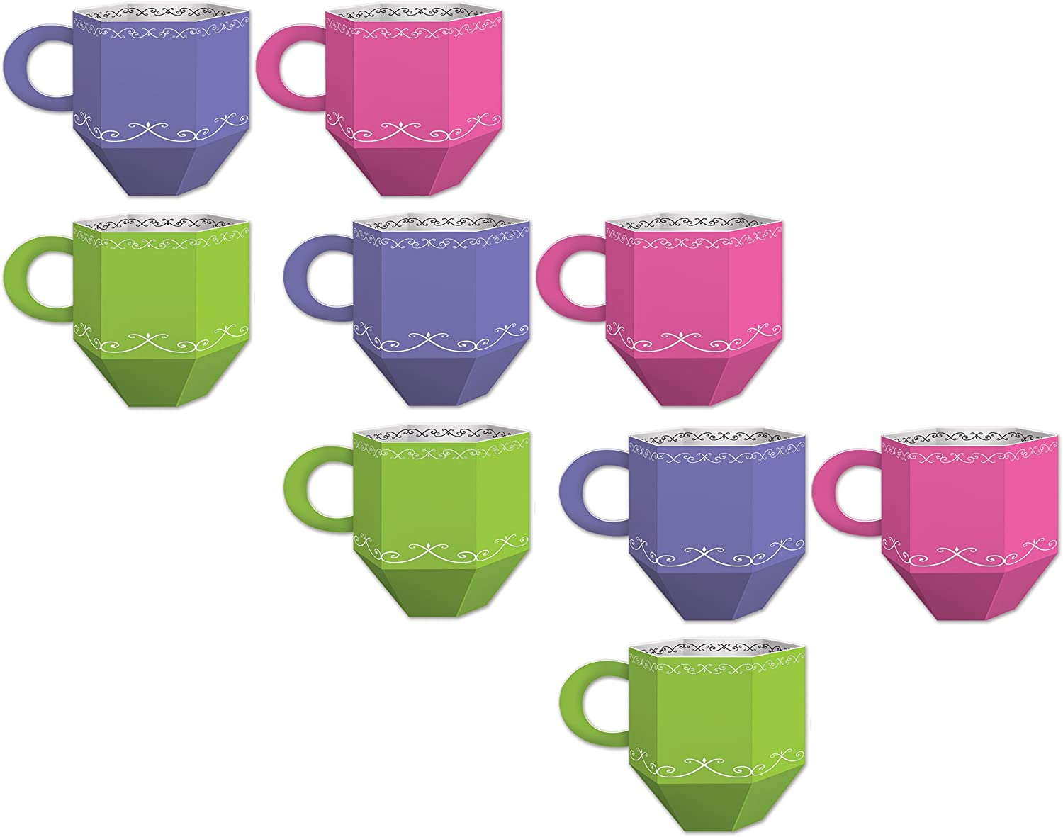 "Beistle 54783, 9 Piece Teacup Favor Boxes, 3.5"" x 4.75"", Purple/Pink/Green/White"