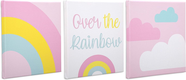 Delta Children 3-Piece Canvas Wall Art Set for Girls, Rainbow