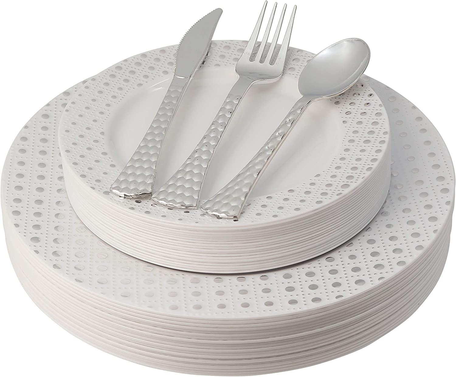 White and Silver Plastic Plates & Cutlery Set, 100 Piece Elegant Disposable Plates Plastic & Silverware Set   Includes 20 Dinner Plates & Salad Plates, 20 Forks, Spoons, Knives - Posh Setting