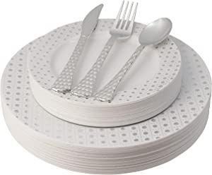 White and Silver Plastic Plates & Cutlery Set, 100 Piece Elegant Disposable Plates Plastic & Silverware Set | Includes 20 Dinner Plates & Salad Plates, 20 Forks, Spoons, Knives - Posh Setting