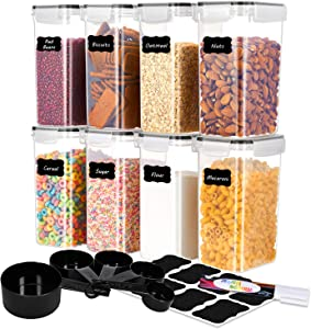 ME.FAN Food Storage Containers [Set of 8] Airtight Storage Keeper-Food Canisters 2.0L(67.64oz) with 5 Set Measuring Cups 24 Chalkboard labels & Pen - Black