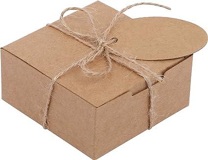 Belle Vous Kraft Cajas de Regalo (Pack de 50) - (7,5x7,5x3,5cm ...