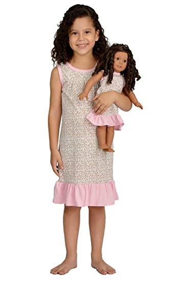 68622ece88 Girl and Doll Matching Outfit Clothes - Pajama Nightgown Set for Girl   Doll  - Fits