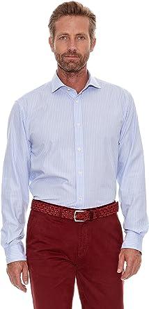 Cortefiel Camisa Fil a Fil Azul Claro S: Amazon.es: Ropa y accesorios