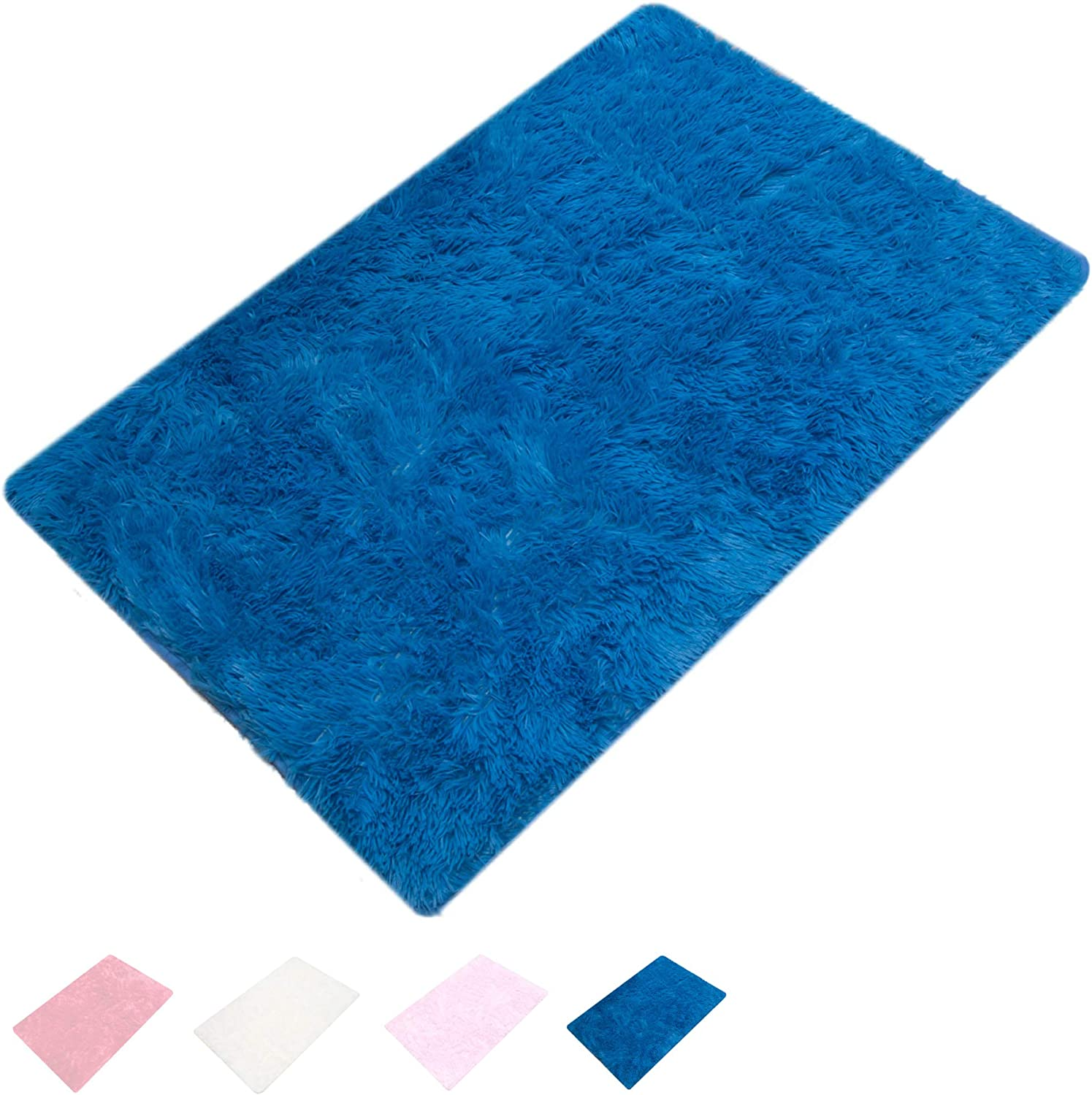 ORGRIMMAR Ultra Soft Indoor Modern Carpet Silky Smooth Rugs Living Room Area Rugs Suitable for Children Play Home Decorator Floor Bedroom Carpet 2 Feet by 3 Feet(Blue)