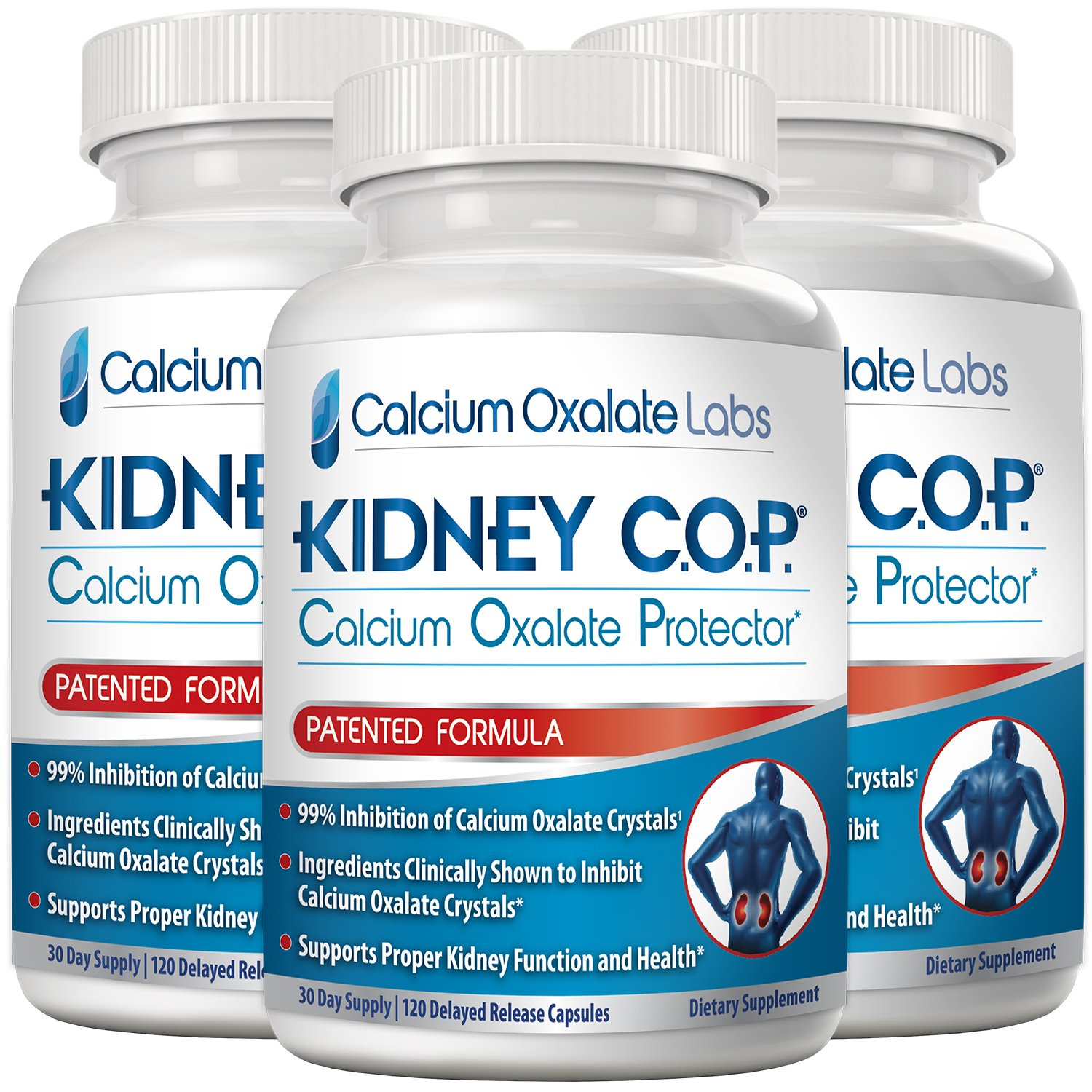 Kidney COP Calcium Oxalate Protector 120 Capsules, Patented Kidney Support for Calcium Oxalate Crystals, Helps Stops Recurrence of Stones, Stronger Than Chanca Piedra Stone Breaker Supplements 3 Pack