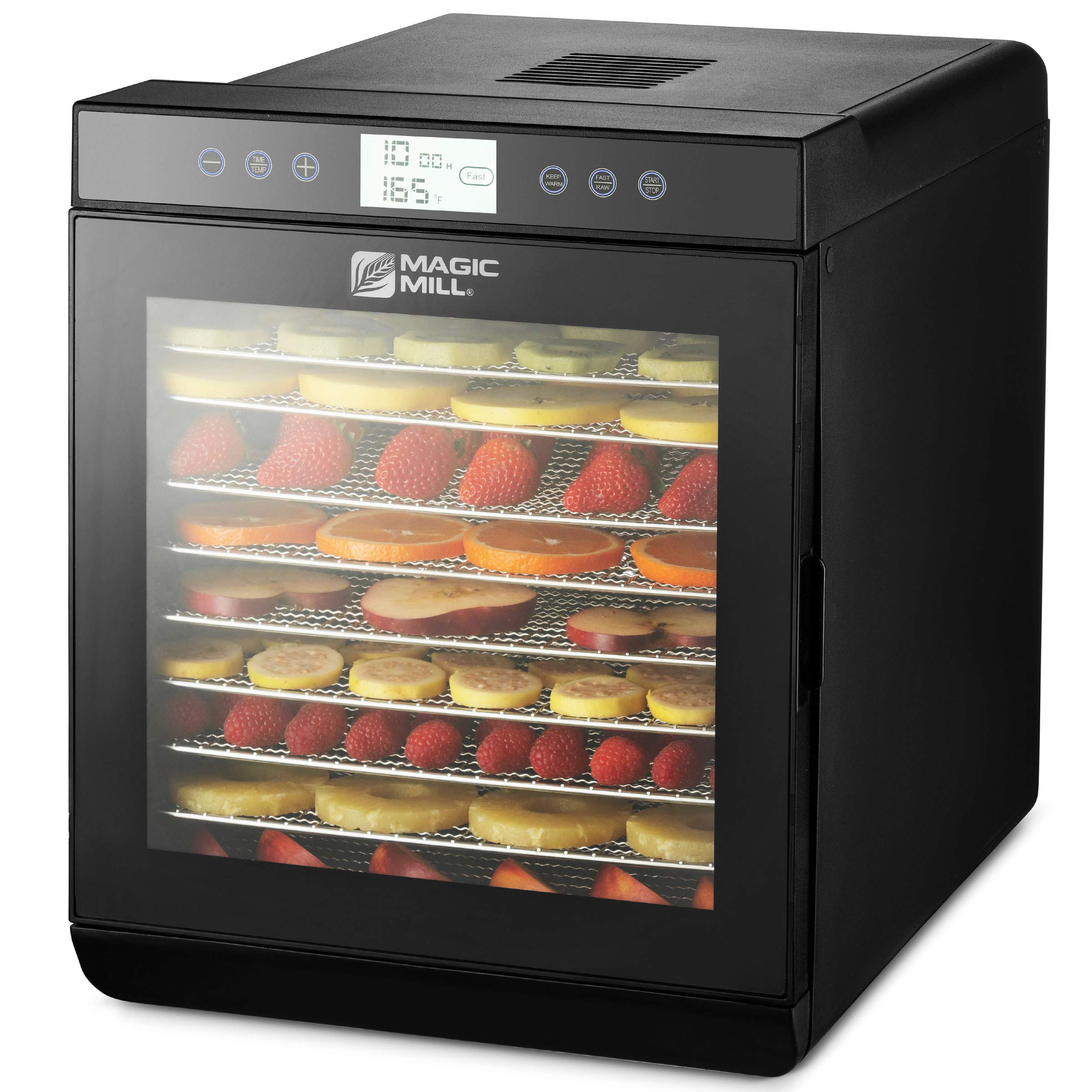 Magic Mill Food Dehydrator Machine - Easy Setup, Digital Adjustable Timer, Temperature Control | Keep Warm Function | Dryer for Jerky, Herb, Meat, Beef, Fruit and To Dry Vegetables | Over Heat Protection | 10 Stainless Steel trays