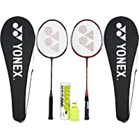 Yonex Beginner's Best Badminton Combo (GR 303 Aluminum Blend Racquet with Full Cover, Set of 2 + Mavis 200I Shuttlecock, Pack of 6)