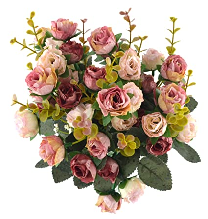 Amazon samyo 21 heads artificial silk rose dried flowers flower samyo 21 heads artificial silk rose dried flowers flower arrangement fake bouquet wedding home floral decor mightylinksfo