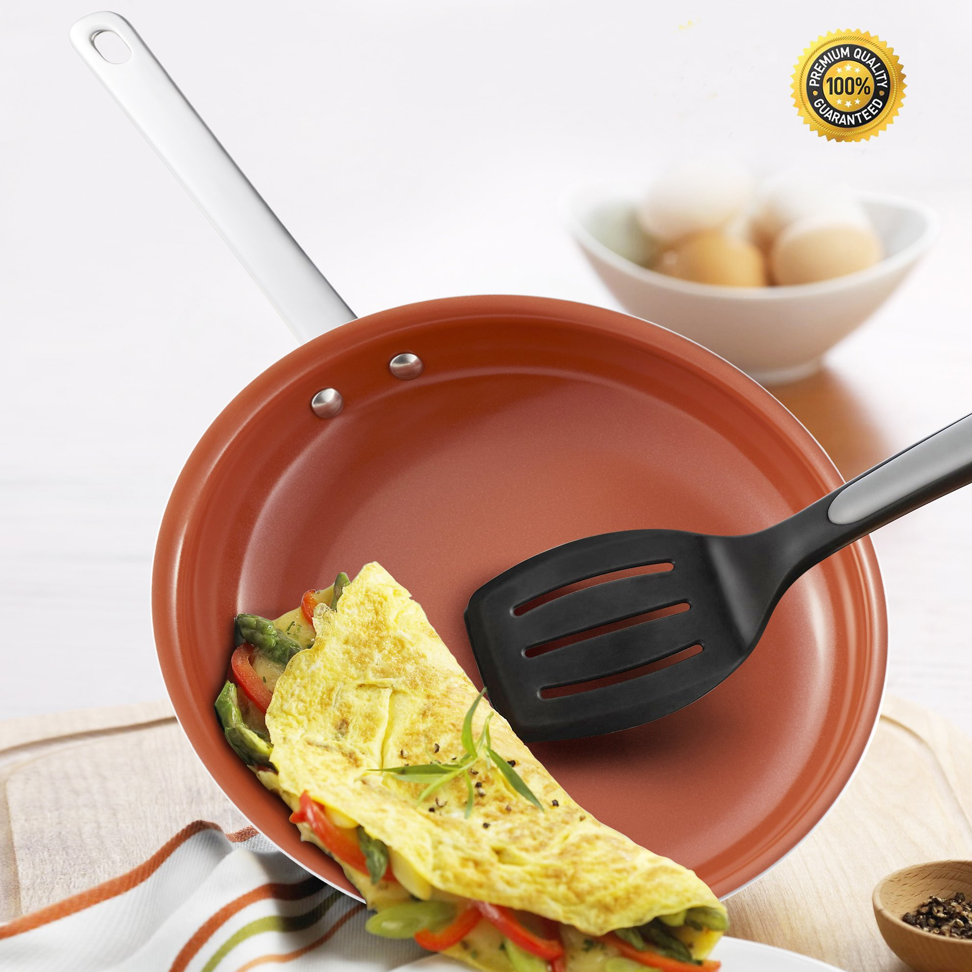 9 Inch Healthy Green Ceramic Non Stick Fry/Frying Pans,Small egg/Omelet/Omelette Pan,Hommate Organic Ceramic Titanium Pan/Cookware/Skillet,Non Toxic,PTFE/PFOA Free,Oven Safe 400F,Dishwasher Safe