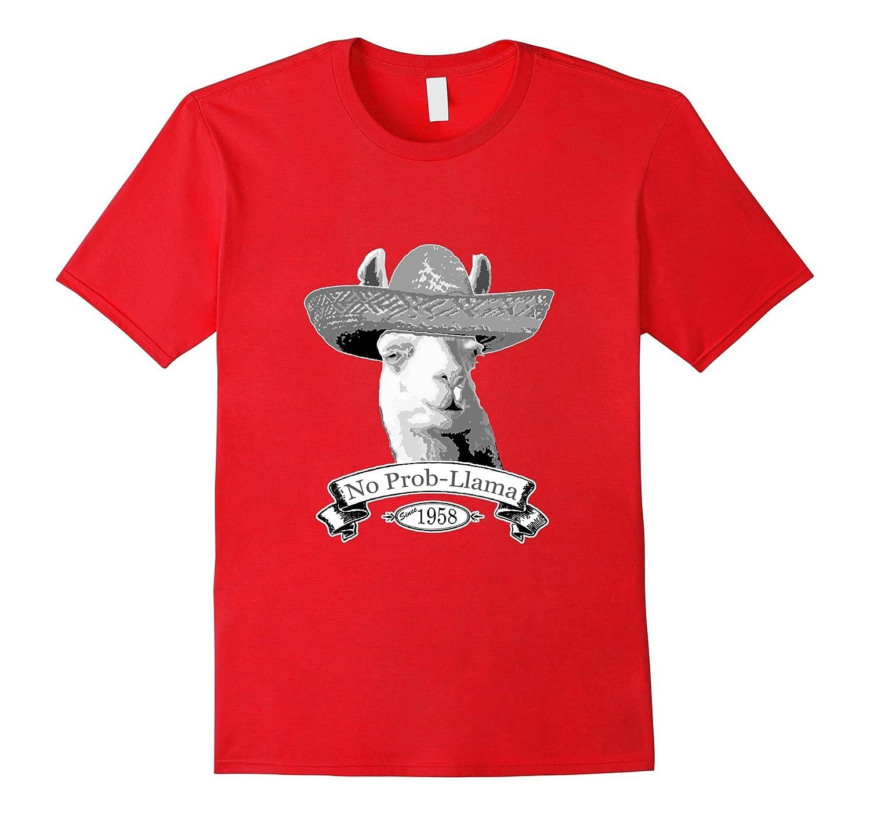 58th Birthday Gift T-Shirt - 1958 Age 58 Llama Hipster Shirt-BN