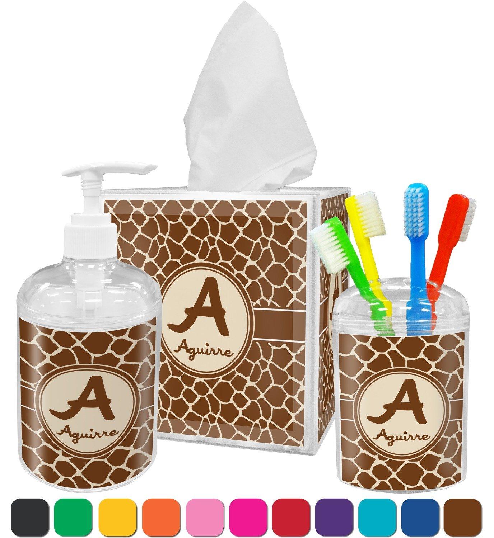 Giraffe Bathroom Decor Amazoncom Giraffe Print Bathroom Accessories Set Personalized