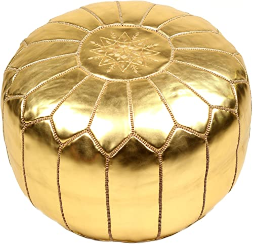 La Bohemia Beautiful Handmade Gold Ottoman Footstool Pouf from Marrakech Colour Gold Delivered unstuffed