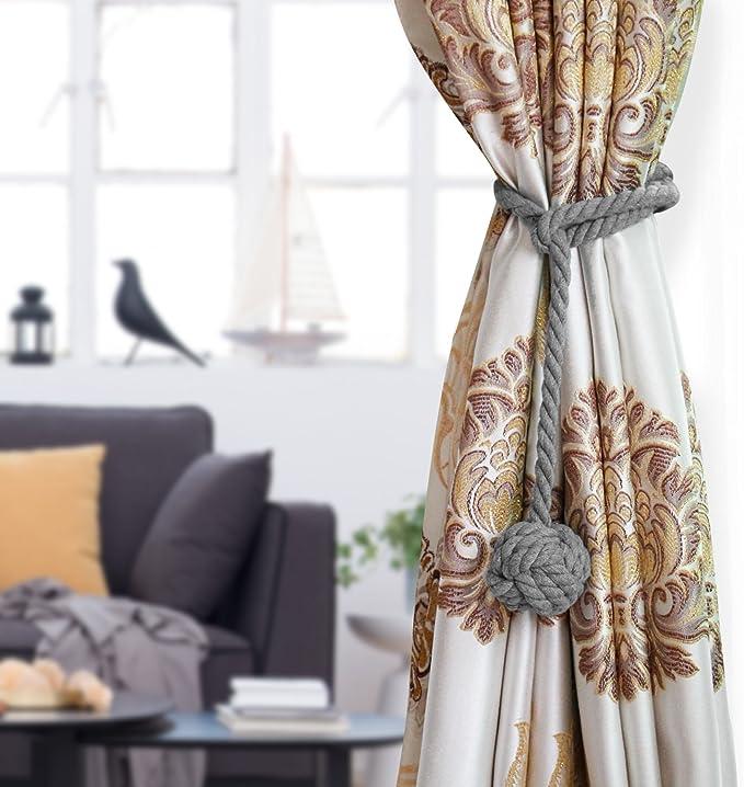 Grey Buckle Holdback Fabric Drapery Tassels Curtain Tiebacks//Tassel Window Cotton Rope Tie Ball Back Accessories Nanami Chic 2 Pieces Fine Hand Tied Curtain Clip