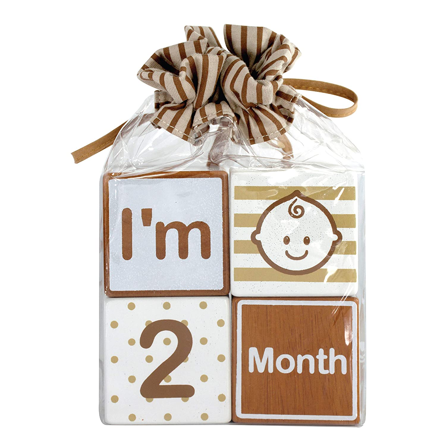 I'm Solid Wood Monthly Baby Milestone Age Blocks, Newborn Baby Gifts & Keepsakes for Baby Pictures (4 Pcs / Blue) I'm International Co. Ltd
