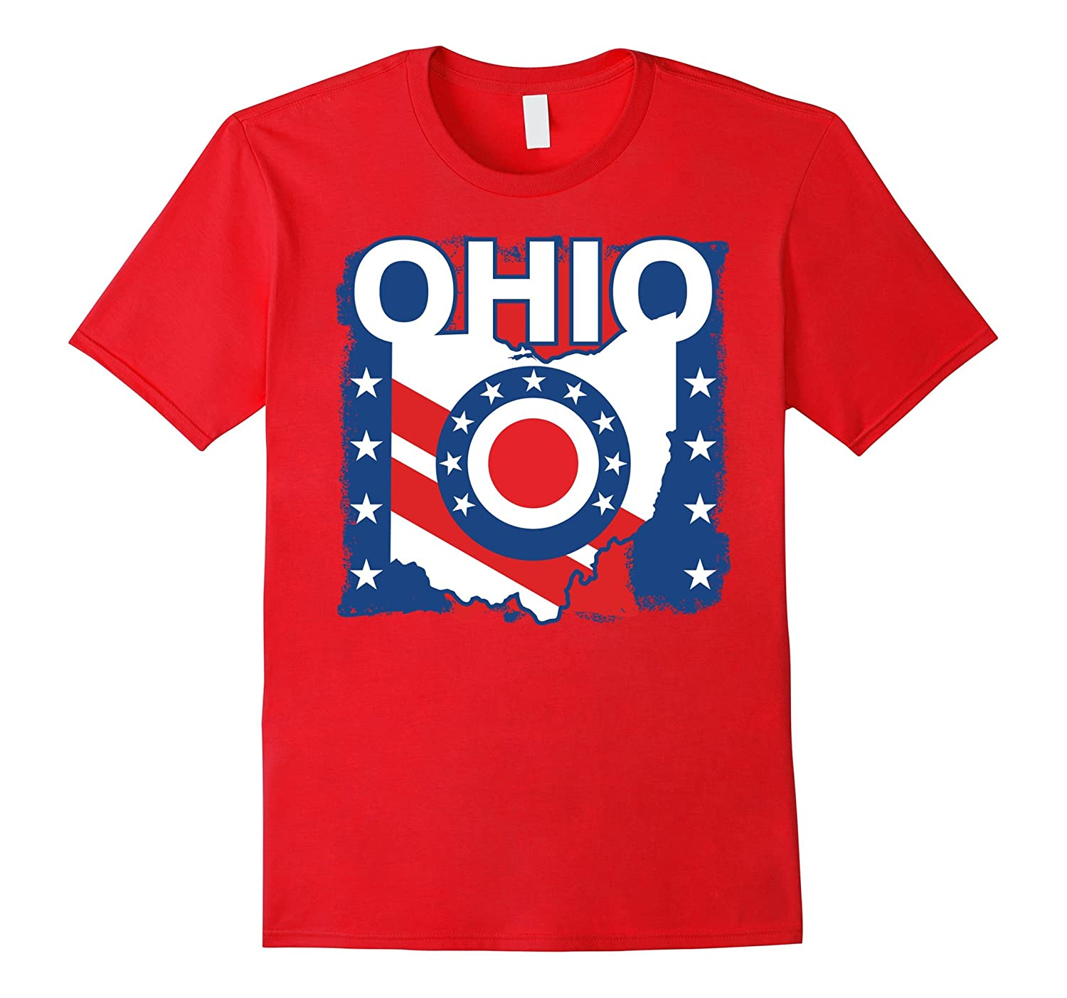Ohio Grunge Red White Blue Patriotic American T-Shirt